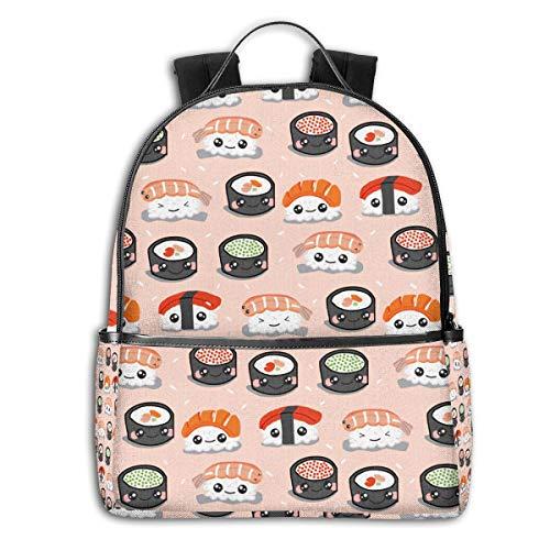 Japanese Best Sushi Black Roller CuteSide Themed Casual Shoulders Backpack Travel Mini Bookbag Book Back School Bag for Girls Boy Women Men merchandise