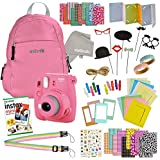 Instax Mini 9 Camera Travel Bundle - 60 Piece Accessory Kit with Shoulder Bag, 20 Sheets of Film, Cleaning Cloth, Strap, Washi Tape, Stickers, Photo Frames + Album - Flamingo Pink - by Outlook 2020