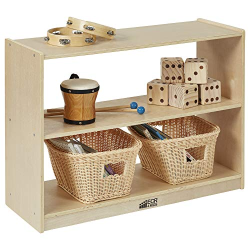 ECR4KIDS 2 Shelf Storage Birch Cabinet with Open Back, Natural