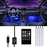 Éclairage LED Voiture Intérieur - Trongle Lampe Voiture Intérieur , 48 LED Lumières de Bande de Voiture avec télécommande sans fil, méliorée Étanche Multicouleurs sous l'Éclairage de Voiture, DC5V