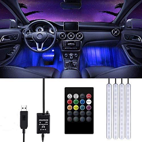 Striscia LED Auto, Trongle Luci LED Interne per Auto con 48 LED RGB, 4 Barre Striscia LED Auto 8 Colori, Illuminazione Auto Strisce 4 Modalità Musica, Telecomando Alimentato da USB