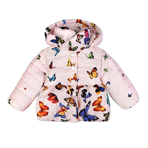 BOBORA Bambine Ragazze Farfalla Felpa con Cappuccio Cappotti Inverno Pile Foderato Cotone Imbottito Giacca 1-4 Anni