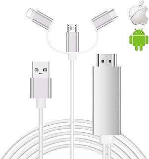 Cable de teléfono Inteligente a HDMI, SwiftLand 3 en 1 USB Tipo C Flash a HDMI HDTV Adaptador de Cable 1080p Adaptador AV ...