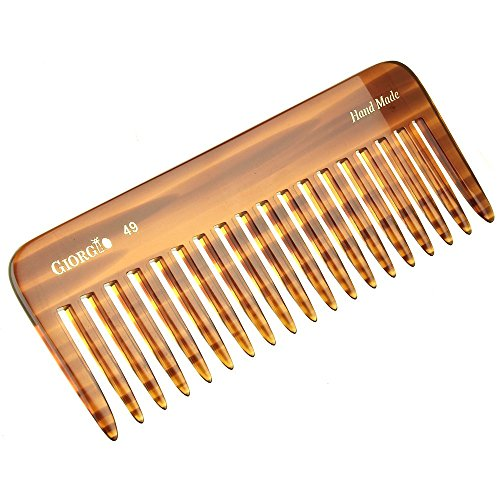 "Giorgio G49 5 3/4"" Hand Made Tortoiseshell Detangling Comb - Wide Teeth, Hand-Made of quality Durable Cellulose, Saw-cut and Hand Polished (1 Pack, Tortoiseshell)"