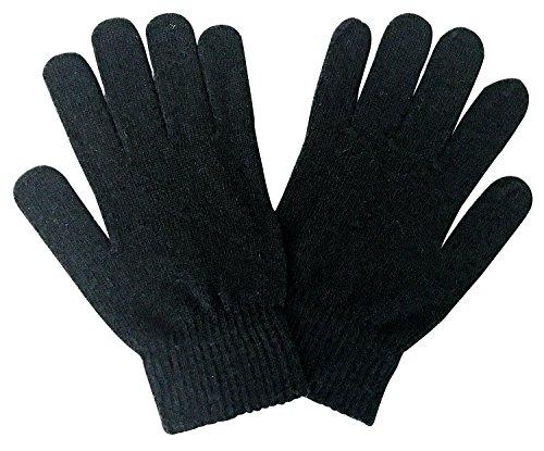 Sock Snob Hombre Negros y Gris Magic Lana Calientes Invierno Otoño Térmicos Finos Guantes de Punto para Frio (One Size, Wg Black)