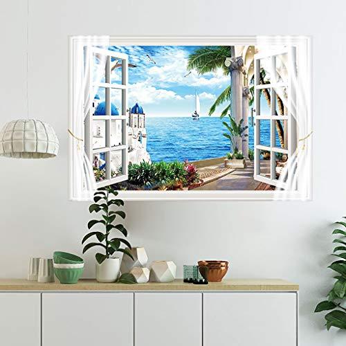 Janly Clearance Sale Pegatinas de Pared para decoración del hogar, diseño de Paisaje mediterráneo de la Isla de San Tony