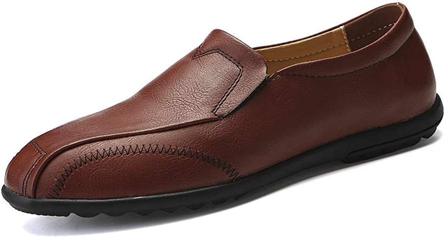 FuweiEncore 2018 Men's Business Oxford Casual Light Soft Leather Breathable One Foot Pedal Lofer (color  Brown, Size  45 EU) (color   Brown, Size   41 EU)