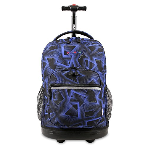 J World New York Sunrise Rolling Backpack. Roller Bag with Wheels, Disco, 18'