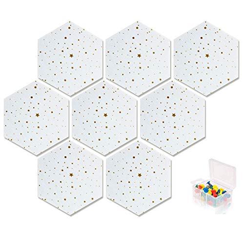 GWFVA Pinnwand Sechseck Filzplatte Fliesen Selbstklebende Anschlagtafel für Zuhause und Büro, Weiße Pinnwand Klebrige DIY-Notiztafeln für Wand-Hekorativ mit 20 Druckstiften