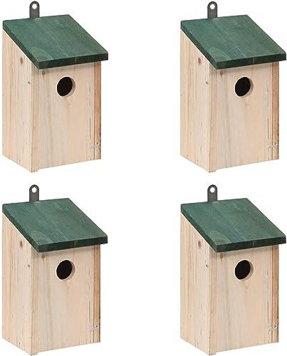 vidaXL Madera Maciza de Pino 4X Casas para Pájaros de Jardín Nido para Aves