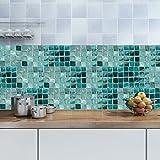 Homyl Mosaik Fliesenaufkleber Fliesenbild Fliesen Aufkleber Sticker Badezimmer Bad Folie, 20x500cm - 003 - 7
