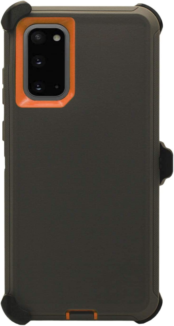"""WallSkiN Turtle Series Belt Clip Cases for Galaxy S20 (6.2""""), 3-Layer Full Body Life-Time Protective Cover & Holster & Kickstand & Shock, Drop, Dust Proof - Dark Grey/Orange"""