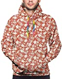 Christmas Hoodies for Men Men's Hoodies Sweatershirt,Pattern with The Exotic Blossoms and Leaves of Hawaiian Island and Grunge Look,S