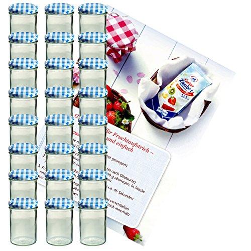 Lot de 24 bocaux en verre 435 ml bocaux en verre Verre Confiture couvercles dorés To 82 Bleu à carreaux Couvercle incl. Diamant de sucre gelier magique recettes