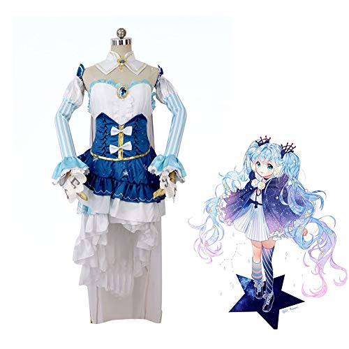 CGBF -Hatsune Miku Anime Snow Princess Cosplay Disfraz Comic Exhibition Theme Party Game Uniforme, azul, XL
