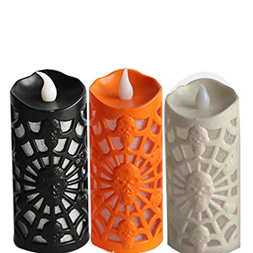 Candle Light, Hollow Creative Design Colorful Flash, Suitable for Halloween Indoor and Outdoor, Outdoor/Bar Decoration Atmosphere Props, (8 Packs, White/Black/Orange)-9A