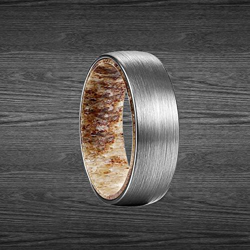 Deer Antler Ring Tungsten Wedding Band Mens Ring Bourbon Wood Ring Mens Rustic Antler /& Whiskey Barrel Ring Mens Wedding Band Tungsten Ring