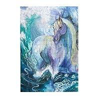 Namiha 青い海に沈んだ馬 ジグソーパズル 300ピース 知育パズル 木製素材 キャラクター パズル アニメパターン 萌えグッズ 子供 初心者向け ギフト プレゼント
