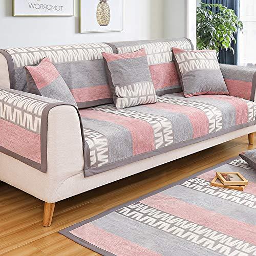 OVER-PK Doek Nordic Couch Covers, Vier seizoenen Anti-slip Sofa Cover Elastische bandjes dikker Slipcover Bank Voor Woonkamer Sofa Cushioning 110x210cm(43x83inch) D