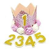 Hut mit Blumenkranz, für Babys und Haustiere, klein, kreativer Hut, Themen-Motiv, mit Zahlen bestückt Rosa