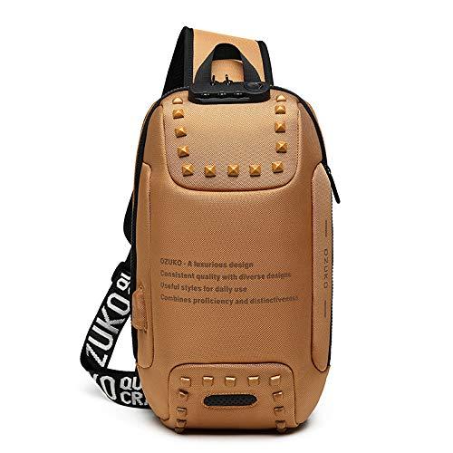 CMZ Rucksack Herren Umhängetasche Umhängetasche USB Outdoor Anti-Diebstahl Brusttasche Wasserdichter Oxford Cloth Herren Kleiner Rucksack