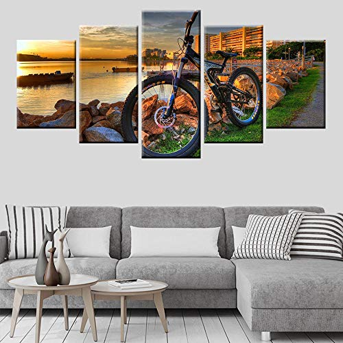 BAOZU Mountain Bike Racing Canvas Wall Art Bicycle Sunset Landscape Poster Wall Art 5 Panel Living Room Bedroom Picture Modular 150x80cm