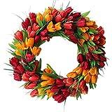 æ— Künstliche Tulpen-Kranz, Handgemachte Simulation Blumengirlande Kranz, Hängende Frühling Tulpe Tür Kranz, Hochzeit Mittelstück/Kerze Ring Kranz/Tisch Wand Dekoration