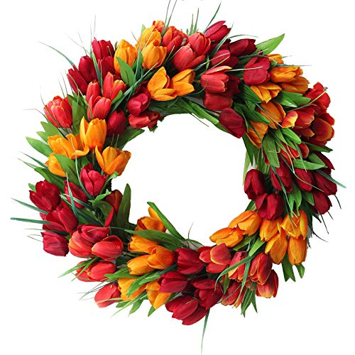 Asodomo 20 Inches Artificial Tulip Flower Wreaths Red Yellow and Purple Tulip Front Door Wreath Fake Flower Wreaths for Spring, Summer, Winter, Home, Wedding
