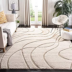 Safavieh Florida Shag Collection SG471 Abstract Wave 1.2-inch Thick Area Rug, 8'6″ x 12′, Cream / Beige
