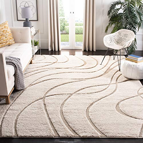 Safavieh Florida Shag Collection SG471-1113 Abstract Wave Textured 1.18-inch Thick Area Rug, 5' 3' x 7' 6', Cream/Beige