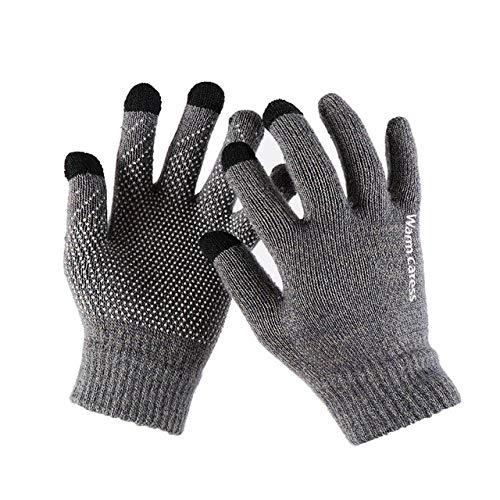 Guantes de Punto con Pantalla táctil Invierno Otoño Hombres Hombre EspesarGuantes sólidoscálidosGuantes de manopla-Gray 4