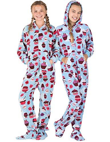 Footed Pajamas - - Blue Cupcakes Kids Hoodie Fleece Onesie - Large
