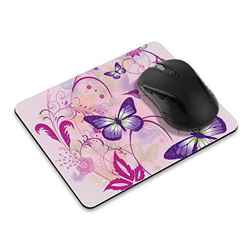 Non-Slip Rectangle Mousepad, WIRESTER Purple Butterfly Pink Vines Mouse Pad for Home, Office and Gaming Desk