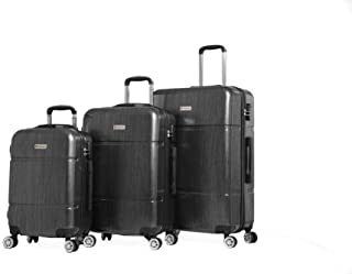 Discovery Smart Luggage with Built-in Scale & 100m Chip Tracker, Tranquility,3 Piece Set - RA8729, Black