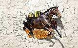 Forwall Fototapete 3D Effekt Pferde Tiere Ziegelwand