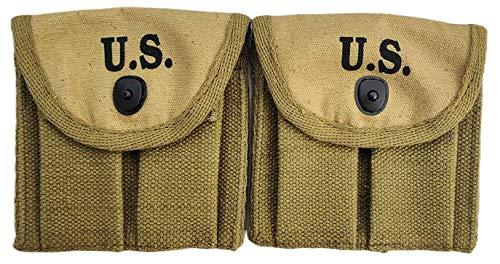 WARCRAFT EXPORTS 2 Stück US WWII Military Canvas M1 Karabiner Double 1943 Butt Magazintasche Khaki