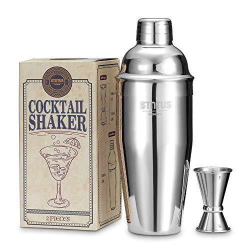 Cocktail Shaker, STNTUS Cocktail Set, 750ml Cocktailshaker, Cocktail Shaker Set, Bar Zubehör, Cocktail Mixer mit Jigger, Coktails Shaker Set Edelstahl, Cocktailset, Cocktail Geschenkset, 2 Stück