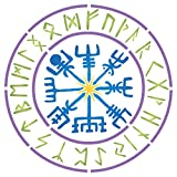 Viking Compass Stencil, 6.5 x 6.5 inch (S) - Vegvisir Runic Nordic Compass Design Stencils for Painting Template Symbol of Protection and Guidance