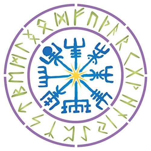 Wikinger Kompass Schablone 25,40 x 25,40 cm (M) - Vegvisir Runen Nordischen Kompass Design Schablone Symbol für Schutz und Führung