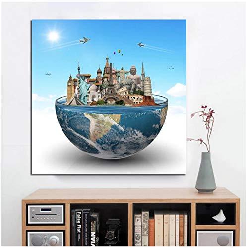 Poster Bilder Zusammenfassung Big Ben Eiffelturm Berühmte Gebäude Globe Poster und Druck Wandkunst Wandbild für Wohnzimmer 70,670 cm x 27 Stück x1 Stück ohne Rahmen