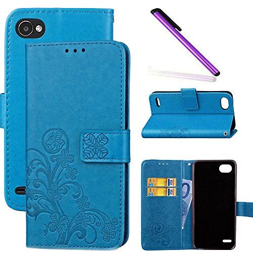 COTDINFOR LG Q6 Funda trébol Cierre Magnético Billetera con Tapa para Tarjetas de Cárcasa Elegante Retro Suave PU Cuero Caso Protectora Case para LG Q6 Clover Blue SD
