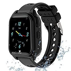Kids GPS Smartwatch Phone IP67 Waterproof, Boys Girls Watch with GPS Locator 2Way Call SOS Voice Chat Camera Pedometer Alarm Clock Sport Watch Gift Compatible with iOS Android Smartphones, Black