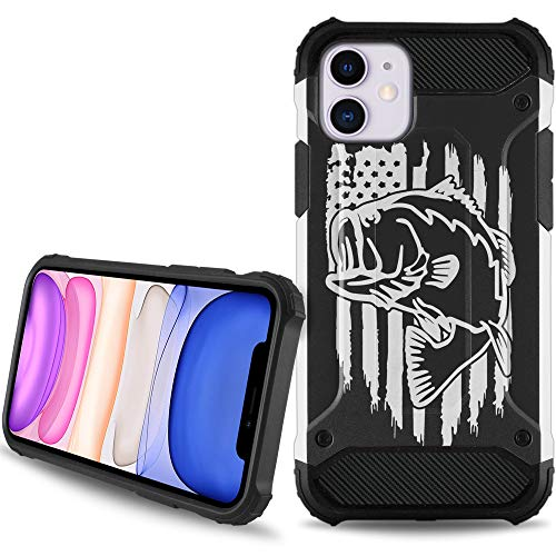 CasesOnDeck Case Compatible with [Apple iPhone 11 (6.1') / iPhone XI][Duo Armor] Hybrid Shell Case with Carbon Fiber Texture Hard Exterior Soft Interior (Fishing USA Bass)