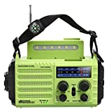 Portable Emergency Solar Hand Crank Radio, 5-way Powered AM/FM/SW/NOAA Weather Alert Radio, Power Bank for Phone Charger, SOS Loud Alarm/LED Flashlight/Reading Lamp/Compass for Camping Travelling Home