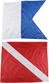 Seafard Dive Flags - 2Pack Scuba International Diver Flag (20x24inch) Polyester Alpha Flag Boat Marker Flag for Snorkeling, Diving, Underwater Activities