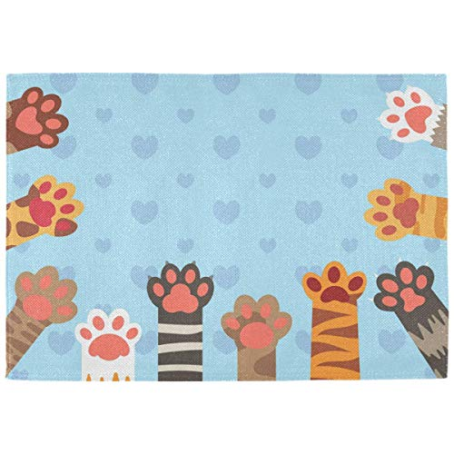 Cat Paws Funny Animal ation Placemats for Dining Table Set of 6 Heat Resistant Table Mat Washable Non Slip Large Fabric Coffee Kitchen Square Plate Mat Personalized Decorative