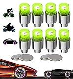 Yinch 8 tappi per valvole a LED, per bicicletta, auto, moto o camion con 10 batterie supplementari (verde)