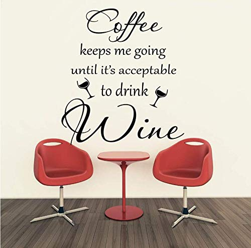 Koffie laat mij de hele weg naar de wijn gaan citaat muursticker aftrekplaatjes keuken bar winkel restaurant aanbieding vinyl decoratie 56x50cm