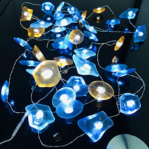 Sea Glass String Lights Starry Silver Wire Shell Light Strand 14ft 40 LED Decorative Fairy Light Battery Powered with 8 Modes Remote Control Timer for Bedroom Christmas Halloween (Stone, 14FT/40LED)