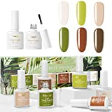 CIMIY Gel Nail Polish Set 8 bottles - Manicure Colors Infinity with Top Base Coat for Forest Nail Art Natural Daily All Seasons for Nail Profession Salon and Starter at Home Soak Off UV LED 0.32oz